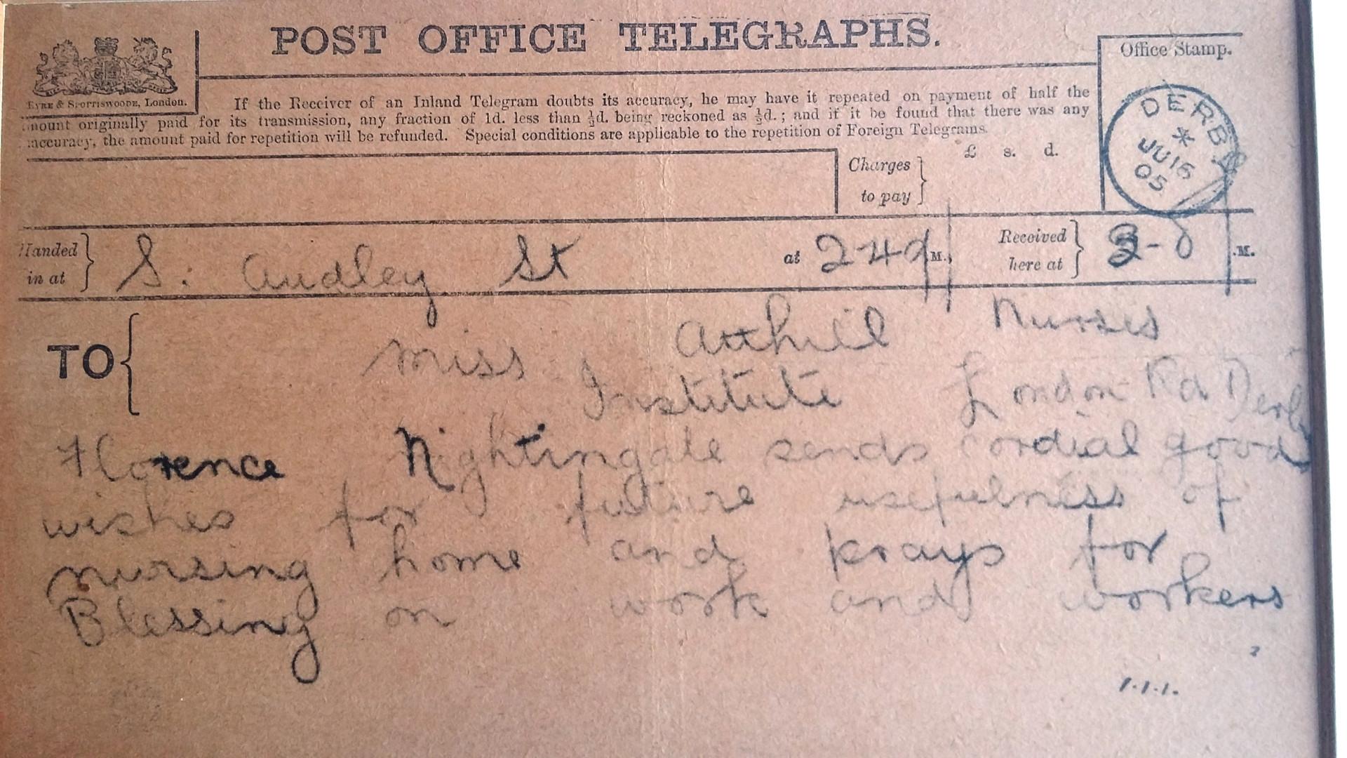 Telegram from Florence Nightingale.