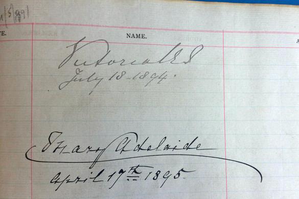 Victoria Signature in Visitors Book