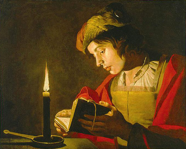 Matthias Stom (1600-1650) painting of Young Man Reading by Candlelight