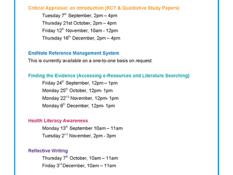 Library Training Sessions for the autumn