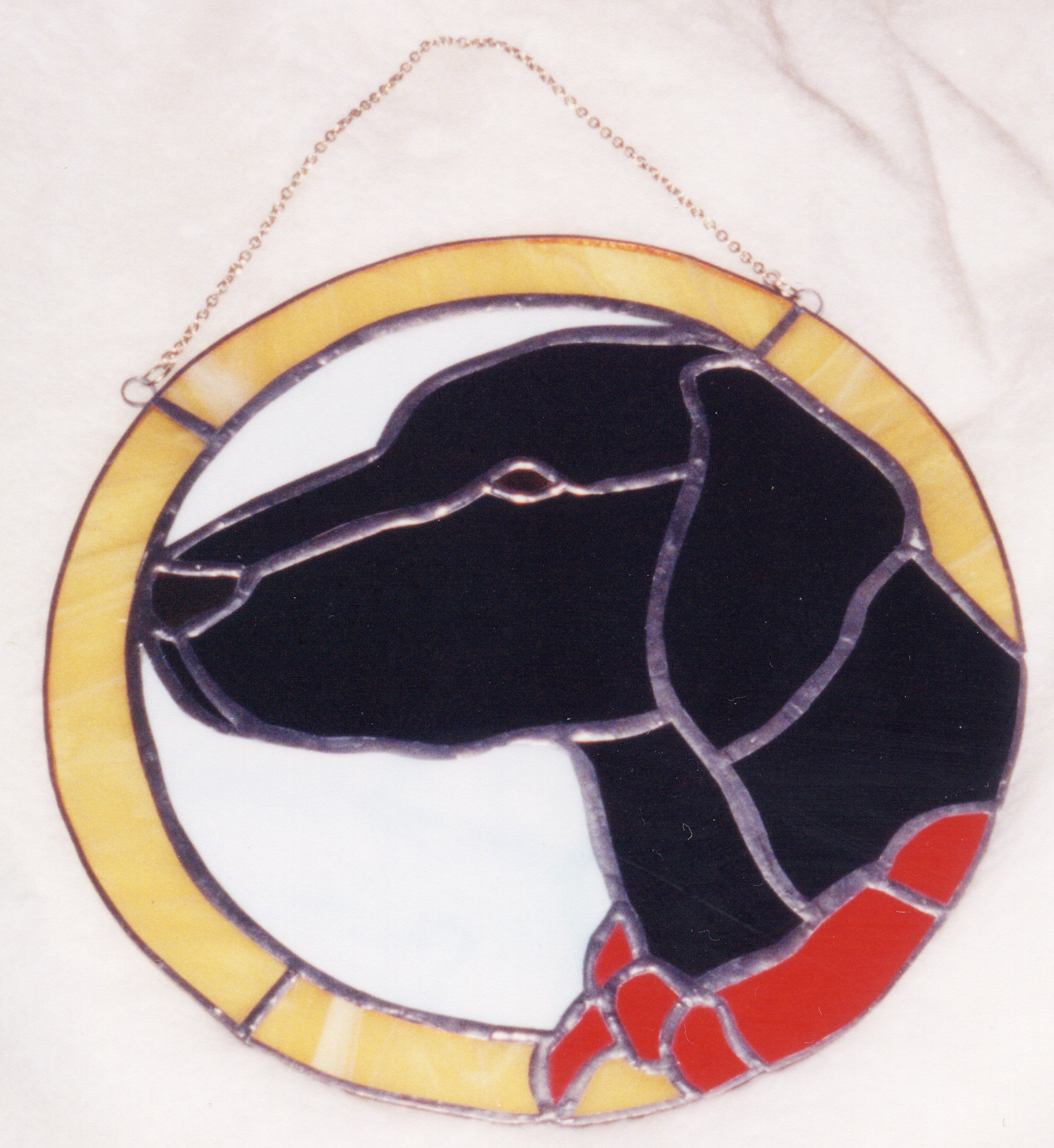 stained glass black lab