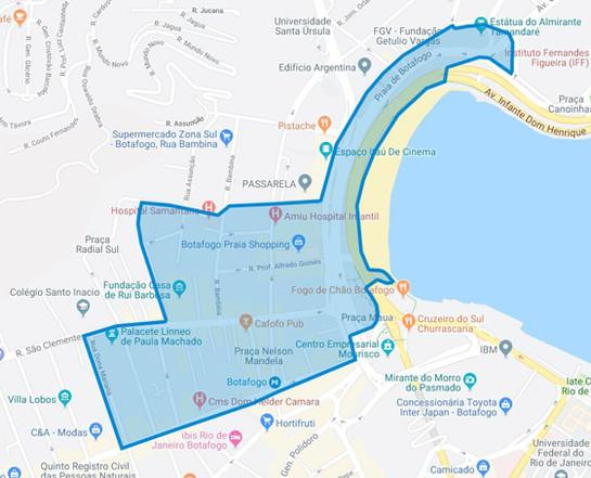 Área de atuação do Botafogo Presente