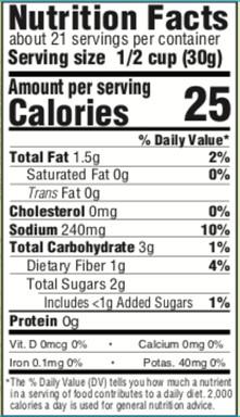 SAVOR_Nutrition Facts_Grilled Vegetables