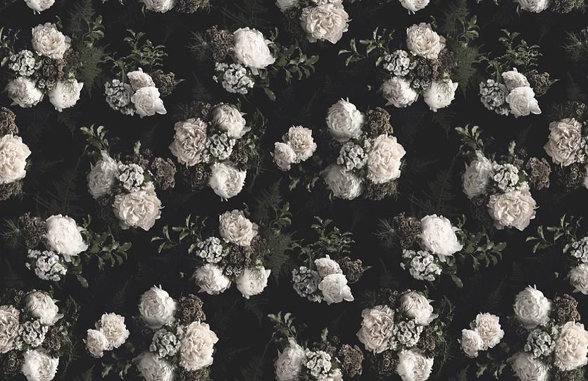 Black & White Moody Floral Wallpaper _ M