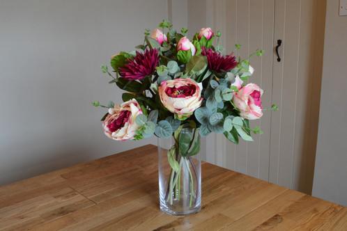 Peony Chrysanthemum And Eucalyptus Mix In Glass Vase
