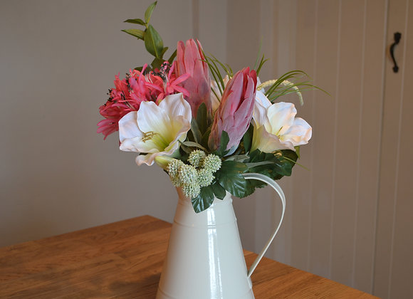 Exotic Bouquet Arrangement in Medium Cream Jug