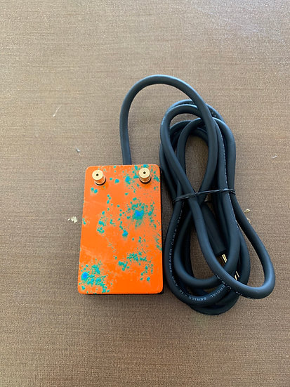 Orange and green splatter heavy duty foot pedal