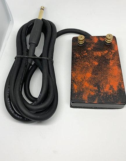 Black and orange splatter heavy duty foot pedal