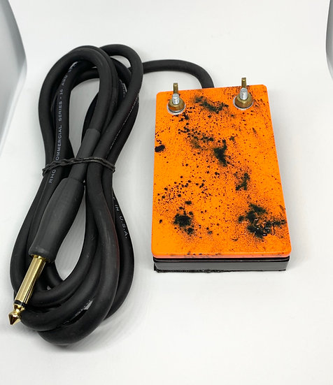 Orange and black splatter heavy duty foot pedal