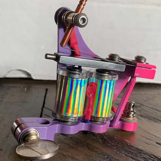 Neon pink and lavender reflective coils color packer