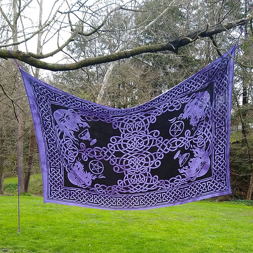 Celtic God Wall Tapestry on Purple