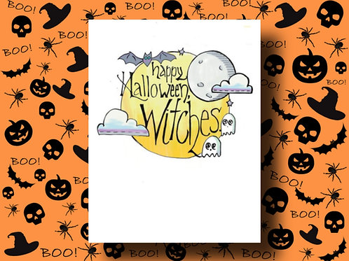 Happy Halloween Witches Card