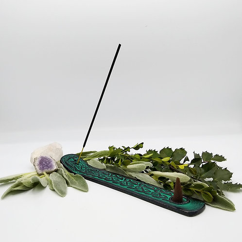 Metal Incense Tray with Green Man Design