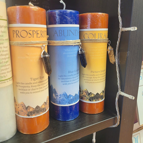 Intention Pillar Candles - with crystal