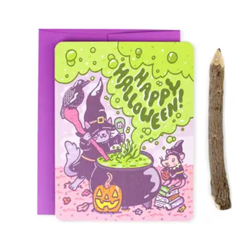 Happy Halloween Witchy Kitty Card