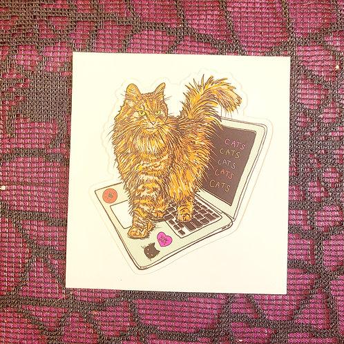 Hacker Cat Sticker