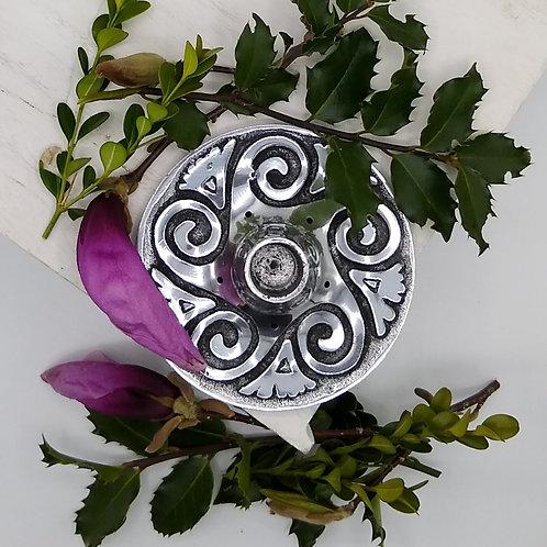 Metal Incense & Candle Holder with Spiral Design
