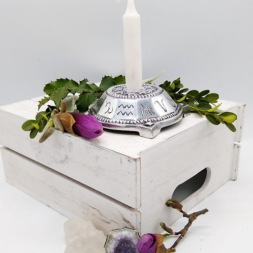 Metal Incense/Candle holder with Zodiac Design