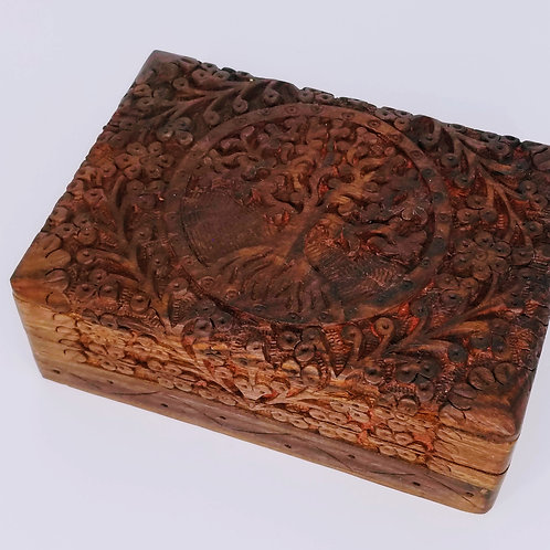 Tree of Life Carved Wooden Box with Velvet Lining