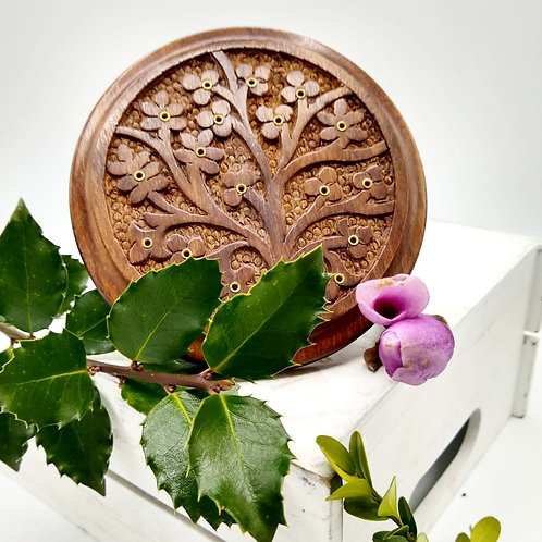 Wooden Incense Plate with Tree of Life Design