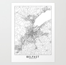 Belfast Map Art Print