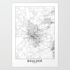 Boulder Map Art Print