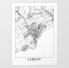 Cardiff Map Art Print