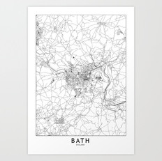 Bath Map Art Print