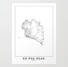 Ko Pha Ngan Map Art Print