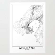Wellington Map Art Print