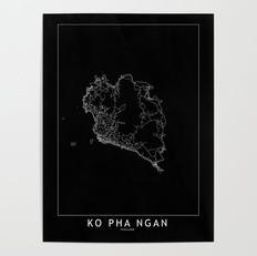 Ko Pha Ngan Map Poster