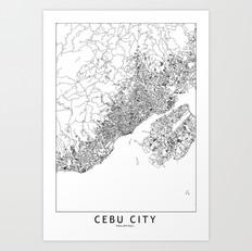 Cebu City Map Art Print