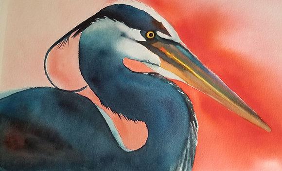 """Sarah Bent - """"Coral Heron"""" - Original"""
