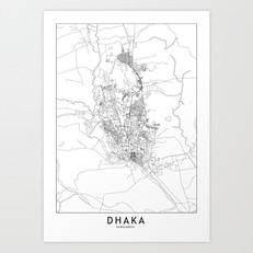 Dhaka Map Art Print
