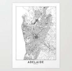Adelaide Map Art Print