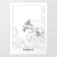 Darwin Map Art Print
