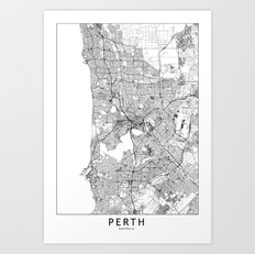 Perth Map Art Print