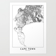 Cape Town Map Art Print