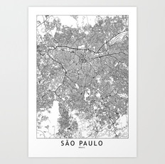 Sao Paulo Map Art Print