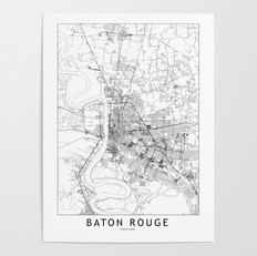 Baton Rouge Map Poster