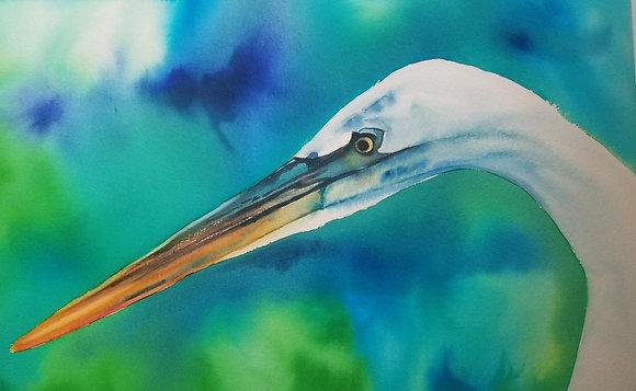 """Sarah Bent - """"Aqua Egret"""" - Original"""