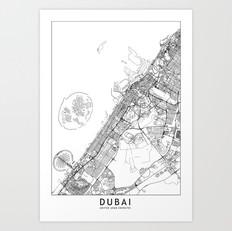 Dubai Map Art Print