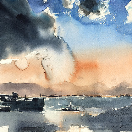 "Wu Jianzhong - ""Summer Harbour"" - Signed Limited Edition of 25"