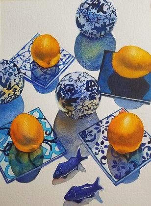 """Sarah Bent - """"Small Plate With Lemons"""" - Original"""