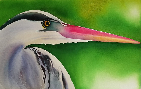 "Sarah Bent - ""Lime Heron"" - Original"