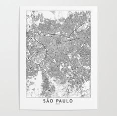 Sao Paulo Map Poster