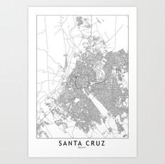 Santa Cruz Map Art Print