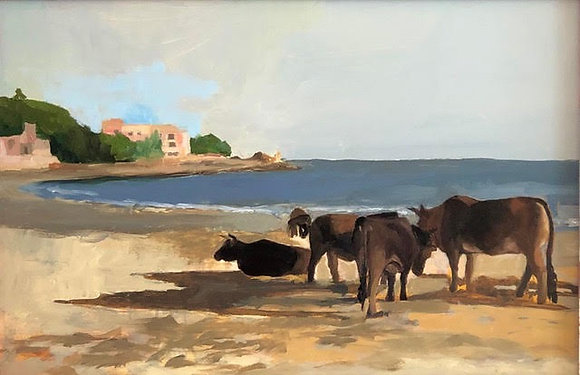 "Alicia Van Thiel - ""Lantau Island Buffalos on Cheung Sha Beach"" - Original"