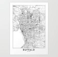 Buffalo Map Art Print