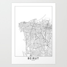 Beirut Map Art Print